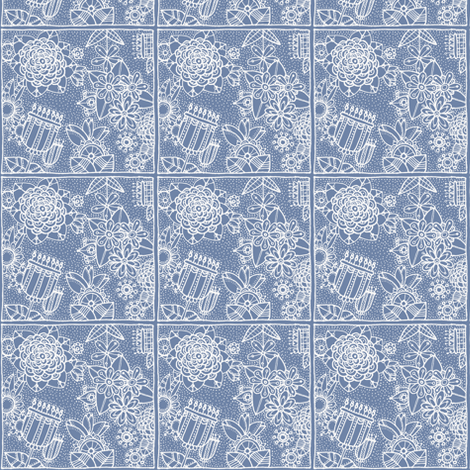 floral square blue white fabric by susan_swedien on Spoonflower - custom fabric