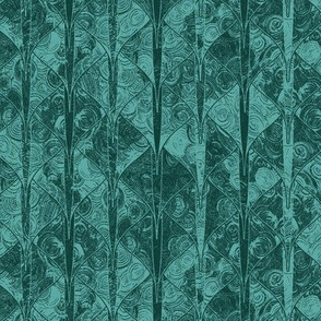 Dark teal dragon scale brocade by Su_G