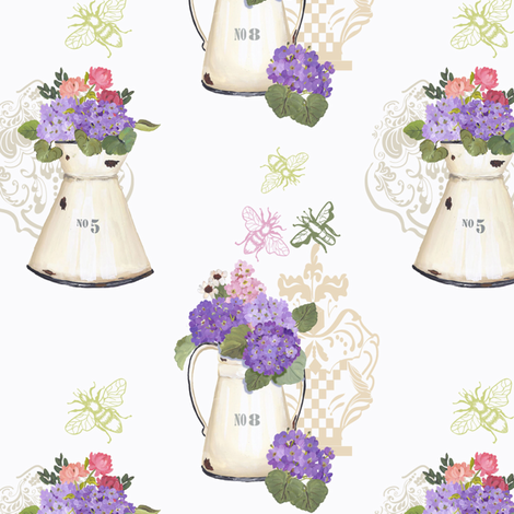 Hydrangea fabric by ©_lana_gordon_rast_ on Spoonflower - custom fabric