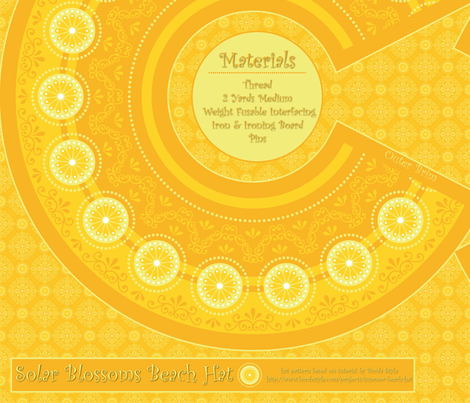 Solar Blossoms (Yellow) Beach Hat fabric by robyriker on Spoonflower - custom fabric