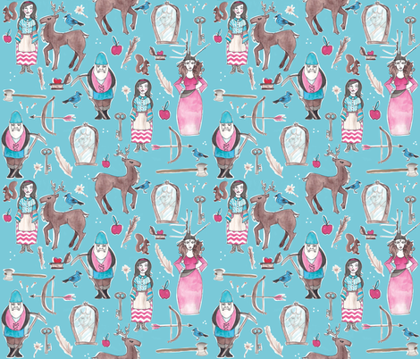Snow White on Aqua fabric by nightgarden on Spoonflower - custom fabric