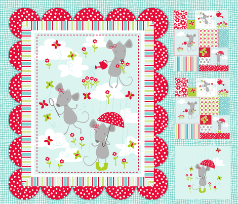 Milly Mouse in the Rain Quilt fabric by bzbdesigner on Spoonflower - custom fabric