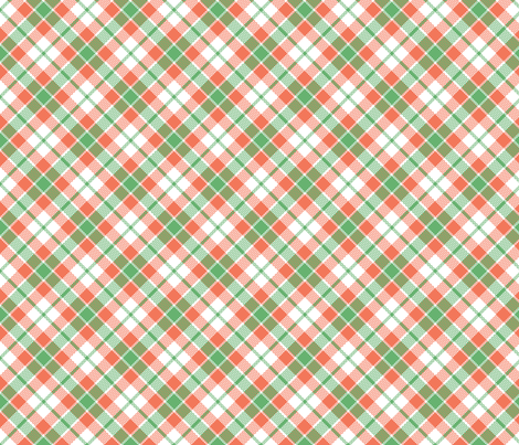 KC plaid mint/peach fabric by minimiel on Spoonflower - custom fabric