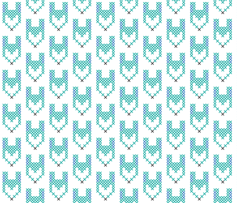 Cross Stitch Teal Fox fabric by sára_emami on Spoonflower - custom fabric