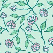 Garden Roses - green