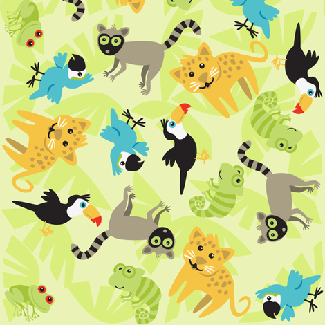 Rainforest Babies Toss fabric by bzbdesigner on Spoonflower - custom fabric