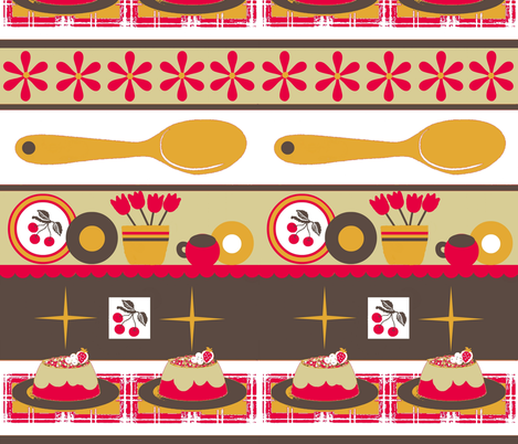 cherry kitschy stripe / Lg fabric by paragonstudios on Spoonflower - custom fabric
