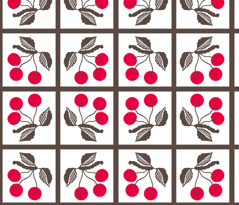 cherry retro/ tile fabric by paragonstudios on Spoonflower - custom fabric