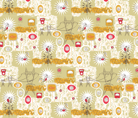 radiotronic rooster fabric by artgarage on Spoonflower - custom fabric