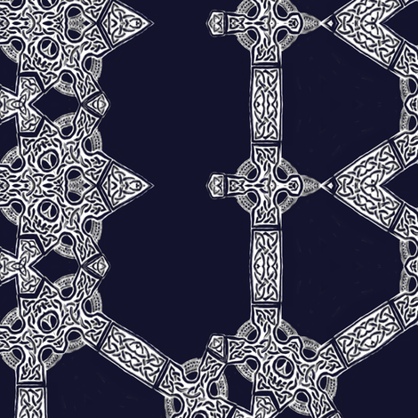 Lindisfarne Midnight in Navy fabric by wren_leyland on Spoonflower - custom fabric
