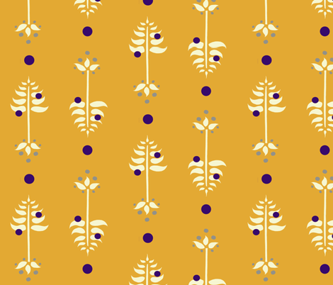Tree Berry Root -Gold fabric by leahvanlutz on Spoonflower - custom fabric