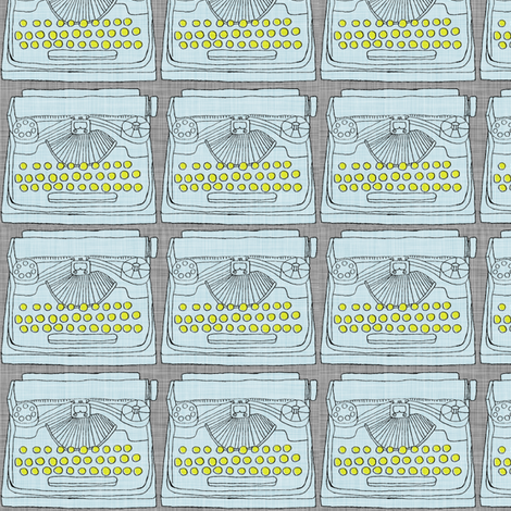 Light Blue Typewriter fabric by maker_maker on Spoonflower - custom fabric
