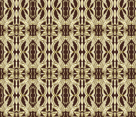 Chocolate Brown and Ivory Dragons fabric by wren_leyland on Spoonflower - custom fabric