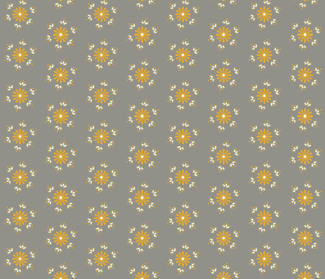 BerryFlower -Golden Gray fabric by leahvanlutz on Spoonflower - custom fabric