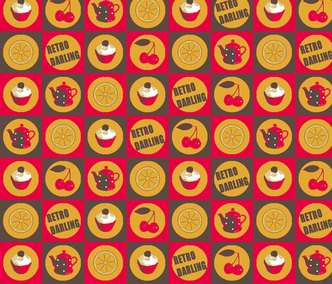 Retro Darling! A Bit Bigger fabric by lovekittypink on Spoonflower - custom fabric