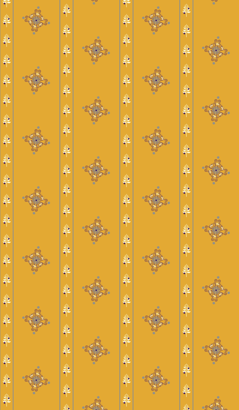 BerryFlowerStripeGold fabric by leahvanlutz on Spoonflower - custom fabric