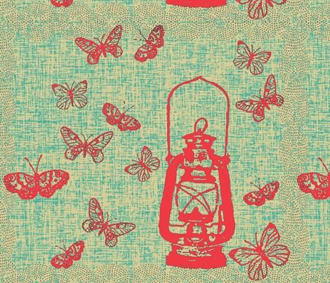 Red Lantern Bigger Repeat fabric by retrofiedshop on Spoonflower - custom fabric