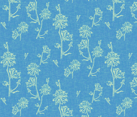 Chicory in Foxy Blue fabric by retrofiedshop on Spoonflower - custom fabric