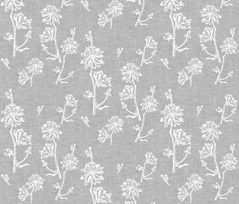 Chicory Fresh Vintage Grey fabric by retrofiedshop on Spoonflower - custom fabric
