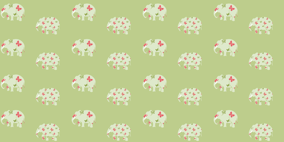 Green Butterfly Elephants fabric by mandollyn on Spoonflower - custom fabric