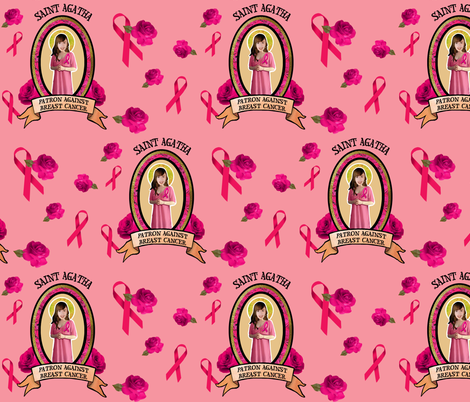 St. Agatha's Breast Cancer Awareness fabric by littleliteraryclassics on Spoonflower - custom fabric