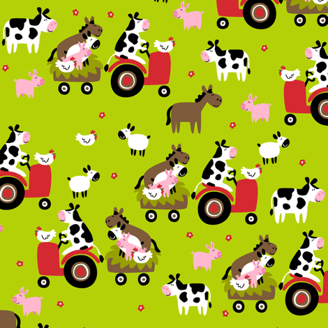 Farmtasia Friends Green fabric by bzbdesigner on Spoonflower - custom fabric