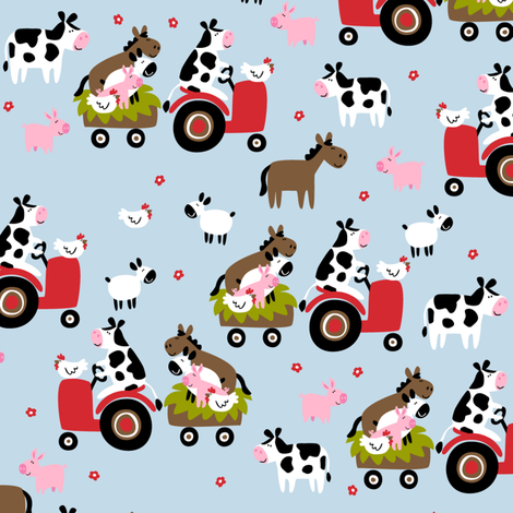 Farmtasia Friends Blue fabric by bzbdesigner on Spoonflower - custom fabric