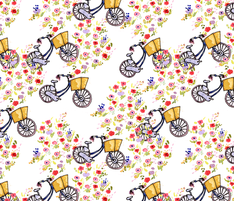 Bikes and Blooms fabric by sara_berrenson on Spoonflower - custom fabric