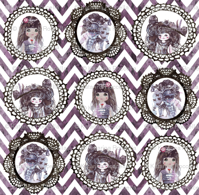 watercolor wonderland girls cameo chevron