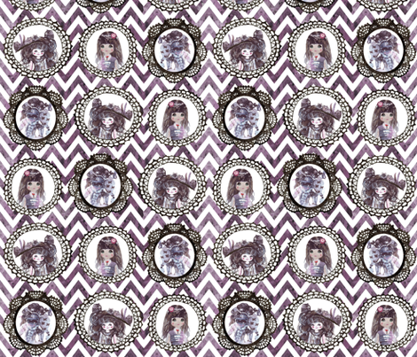 watercolor wonderland girls cameo chevron fabric by katarina on Spoonflower - custom fabric