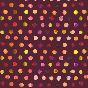 watercolor dots autumn on brown