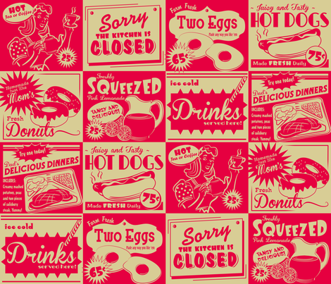 RETRO KITCHEN (ADVERTISING) fabric by retrorudolphs on Spoonflower - custom fabric