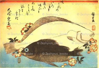 Hirame & Mebaru (Halibut and Rockfish) with cherry blossoms - Hiroshige's Colorful Japanese Fish Print