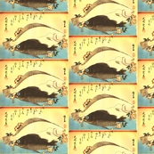 Hirame & Mebaru (Halibut and Rockfish) with cherry blossoms - Hiroshige's Colorful Japanese Fish Print