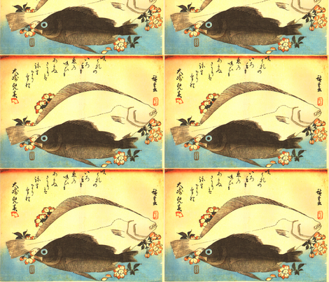 Hirame & Mebaru (Halibut and Rockfish) with cherry blossoms - Hiroshige's Colorful Japanese Fish Print fabric by zephyrus_books on Spoonflower - custom fabric