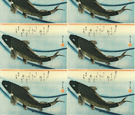 Koi (Carp) - Hiroshige's Colorful Japanese Fish Print fabric by zephyrus_books on Spoonflower - custom fabric