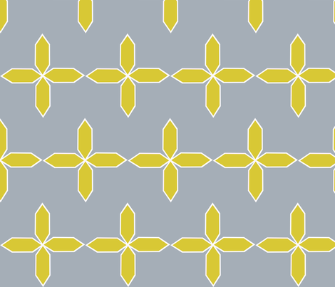 Star Flower in citron and ash fabric by bexcaliber on Spoonflower - custom fabric