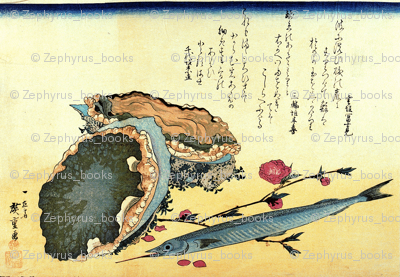 Sayori & Awabi or tokobushi (Japanese halfbeak and Abalone) - Hiroshige's Colorful Japanese Fish Print