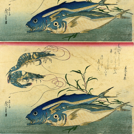 Aji or muroaji or maaji & Ebi (Horse Mackerel and Shrimp or Prawn) - Hiroshige's Colorful Japanese Fish Print fabric by zephyrus_books on Spoonflower - custom fabric