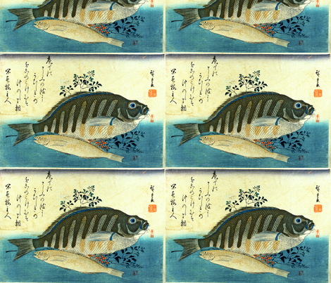 Ainame & Shima-hata (Greenling and Grouper) with bush clover or nandin - Hiroshige's Colorful Japanese Fish Print fabric by zephyrus_books on Spoonflower - custom fabric
