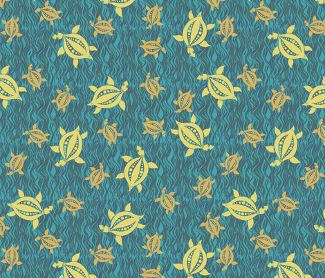Turtle: seagreen fabric by bippidiiboppidii on Spoonflower - custom fabric