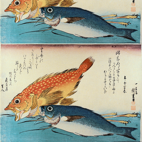 Kasogo & Himedai (Marbled Rockfish and Snapper) with ginger shoot - Hiroshige's Colorful Japanese Fish Print