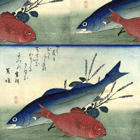 Suzuki & Kimmedai (Sea Perch and Alfonsino) with shiso plant - Hiroshige