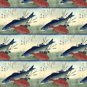 Suzuki & Kimmedai (Sea Perch and Alfonsino) with shiso plant - Hiroshige's Colorful Japanese Fish Print