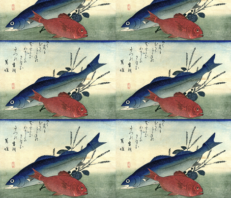 Suzuki & Kimmedai (Sea Perch and Alfonsino) with shiso plant - Hiroshige's Colorful Japanese Fish Print fabric by zephyrus_books on Spoonflower - custom fabric