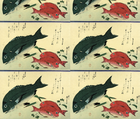 Kurodai & Akadai (Porgy or Black Seabream and Red bream or Golden Tai) with bamboo leaf and Japanese pepper - Hiroshige's Colorful Japanese Fish Print fabric by zephyrus_books on Spoonflower - custom fabric