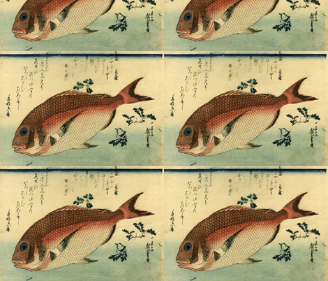 Madai or Red Tai (Red Seabream) - Hiroshige's Colorful Japanese Fish Print fabric by zephyrus_books on Spoonflower - custom fabric