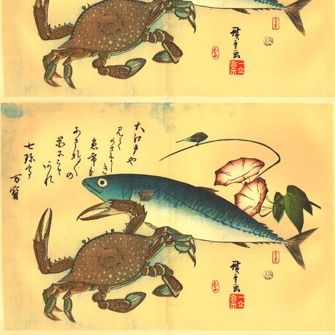 Kani or Kegani & Saba (Crab and Mackerel) with morning glory - Hiroshige