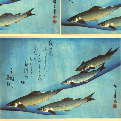 Ai (Trout) - Hiroshige's Colorful Japanese Fish Print fabric by zephyrus_books on Spoonflower - custom fabric