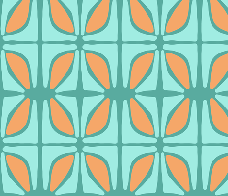 petal (tangerine, aqua and deep aqua) fabric by pattyryboltdesigns on Spoonflower - custom fabric